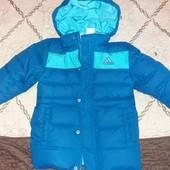 Классное теплое пальто-пуховик для мальчика рост до 92 см.