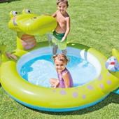 Надувной бассейн Intex 57431 Крокодил с разбрызгивателем. басейн дитячий