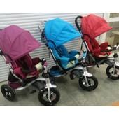 Трехколесный детский велосипед Faster trike 698 с опускающейся спинкой (3 цвета)