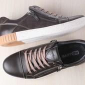 Кеды мужские кожаные, коричневые, с вставками из нубука, с замочком, на шнурках