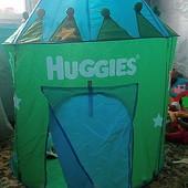 Большая детская палатка-шатер с чехлом в виде сумки. Удобно брать с собой на прогулки, или на отдых.