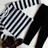 Комплект реглан и велюровые лосины чёрного цвета TU на девочку 1-1.5года