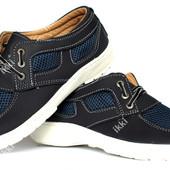 Летние мужские туфли сеточка синего цвета (ПТ 31-3сб)