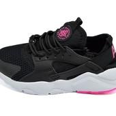 Женские кроссовки Supo by huarache черные с розовым