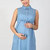 Сарафан для беременных и кормления из тонкого джинса, с горошком