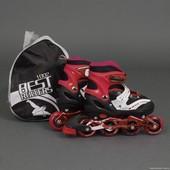 Ролики 1002 М Best Rollers /размер 35-38/ цвет-красный