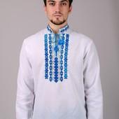 Мужская Сорочка Вышиванка, красный и синий орнамент.
