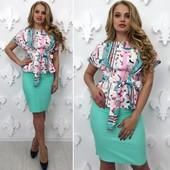 Костюм Блуза +юбка в расцветках 48,50,52 (1б