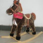 Качалка лошадь BT 001 B темная, музыкальная