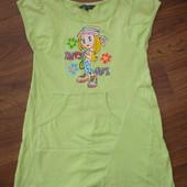 Фирменное платье туника девочке 5-8 лет яркое хлопок