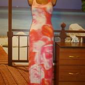 Майка-платье\сарафан\макси\в пол\вискозы\вискоза\цветочный принт р.8-12