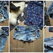 Стильные джинсовые шорты с рванками,р-р L