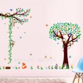 """Наклейки на стену для детской """"Дерево и лиана ростомер с мартышками"""""""