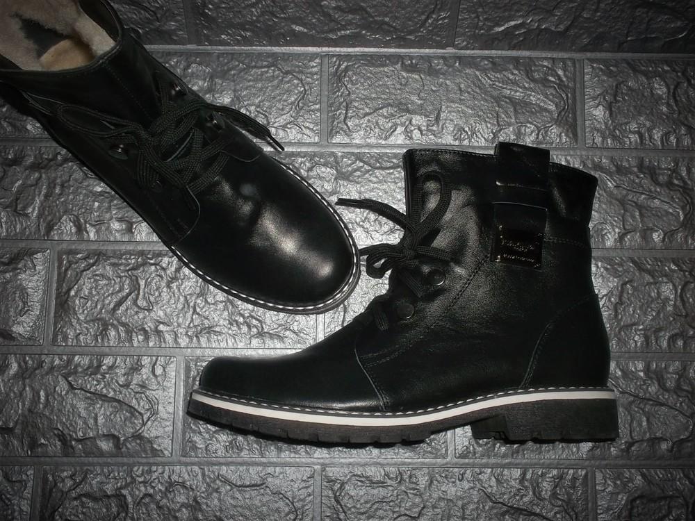 Стильные кожаные зимние ботинки женские фото №1