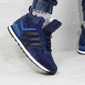Зимние кроссовки высокие Adidas Neo blue