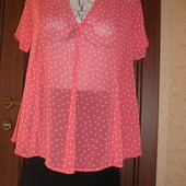Фирменная Next шифоновая блузка на 48 размер идеал