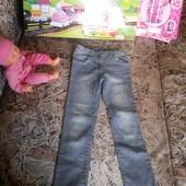 Стильные узенькие джинсики с регулировкой на красавицу 8-9лет