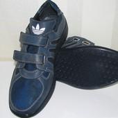 Мужские кроссовки эко кожа на липучках под Адидас с текстильными вставками 40 41 42 43 45