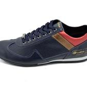 Мужские кроссовки кожа с перфорацией Cuddos Design синие (реплика)