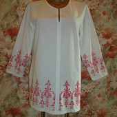 Рубашка хлопковая\хлопок\вышивка дизайнерская Jytte Meilvang р.8-10  H&M