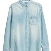 H&M джинсовая рубашка 100%cotton L