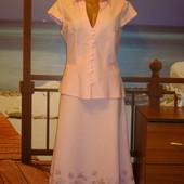 Костюм\ платье летнее\льняное\лен\с вышивкой р.10-12  F&F