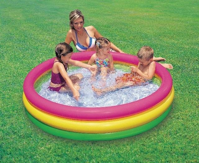 Детский надувной бассейн радуга Intex 57412 173л фото №1