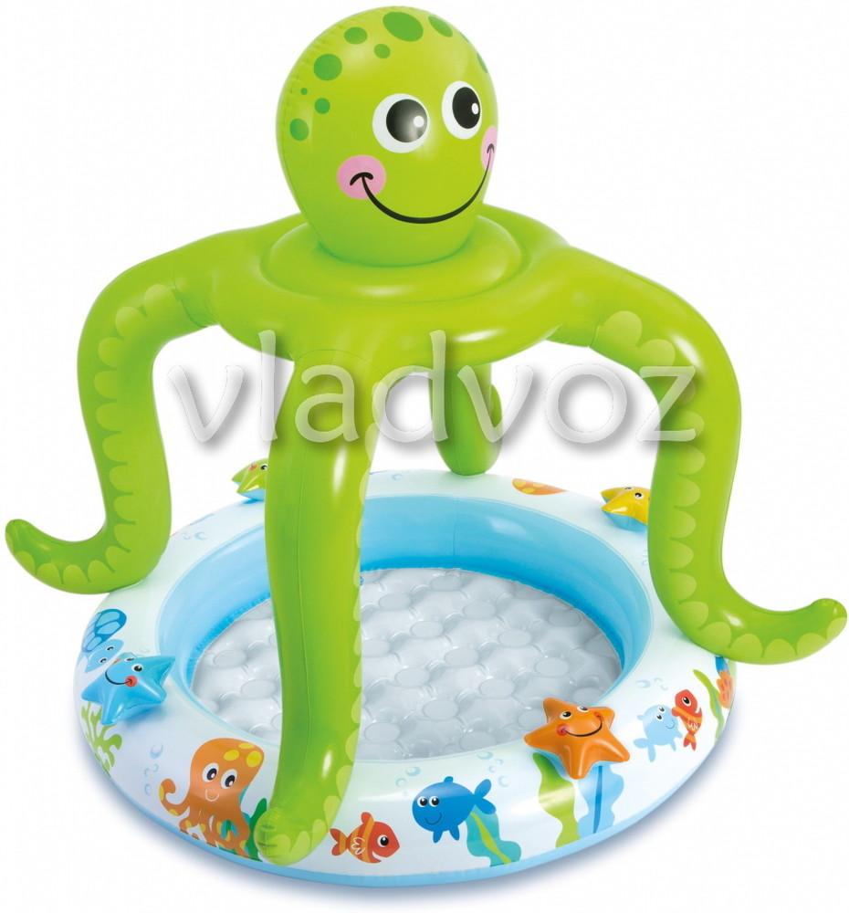 Детский надувной бассейн с навесом осьминог intex 57115 подарок ремкомплект фото №1