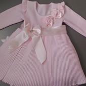 Теплое нарядное платье девочке 12-24 мес