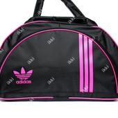Спортивная женская сумка черного цвета с розовым логотипом Adidas (405)