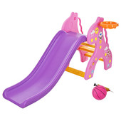 Горка для деток (159*67*76,5) Бэмби-Жираж,с баскетбольным кольцом,розовая