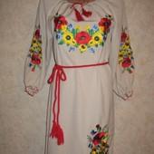 Вышитое платье Маки с подсолнухами 48, 50, 52, 54