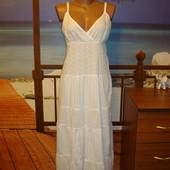 Платье\сарафан летнее\хлопковое\хлопок\в пол\макси\прошва\вышивка р.10-12  BHS