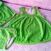 Зеленый в белый горошек костюмчик с косыночкой