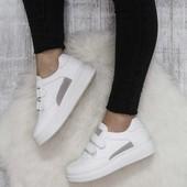 Белые кроссовки на липучках, кеды на липучках, белые кеды