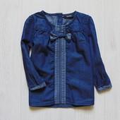 Стильная джинсовая блуза для девочки. George. Размер 12-18 месяцев. Состояние: новой вещи