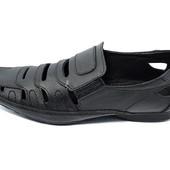 Мокасины мужские кожаные  Van Kristi DT 521 черные (реплика)
