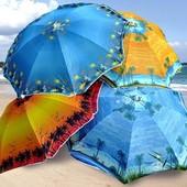 Пляжный зонт с анти УФ серебристым напылением и поворотным механизмом. Купол 200 см