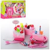 Игровой набор торт на липучках с посудой и украшениями. Шикарный подарок.