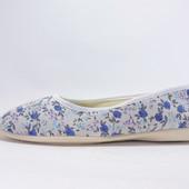 Текстильные балетки Цветочки. Голубые. 1272Blue 36,39