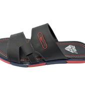 Шлепанцы мужские кожаные Nike ТН черные (реплика)