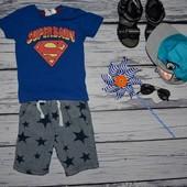 12 - 18 месяцев 86 см крутая фирменная футболочка для стильного мальчика Супермен