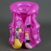 Жилет надувной розовый три размера Принцессы 779-69 с рисунком