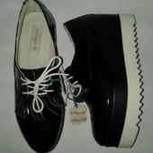Акция!!! Натуральная лаковая кожа Новые туфли мокасины 37 размера