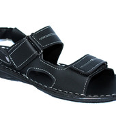 Прошитые сандалии мужские босоножки черного цвета (БС-04ч)