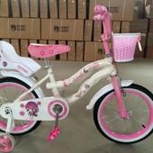 Двухколесный велосипед с корзиной и сиденьем для куклы