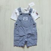 Новый комплект для маленького модника: футболка + комбинезон. Debenhams. Размер 3-6 месяцев