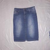 S, поб 46, модная джинсовая юбка миди Evie имитация потертостей