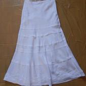 M-L, поб 48-50, белоснежная льняная юбка макси Marks&Spencer