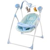 Детский шезлонг-качель Bambi M 1540-2-2 подв3шт,5скор, муз (16мел), крыша, свет, таймер голубой